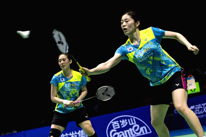 WUHAN, April 30, 2017 - Kim Hye Rin and Yoo Hae Won (L) of South Korea compete during the women's doubles final match against Matsutomo Misaki and Takahashi Ayaka of Japan at the Badminton Asia ...