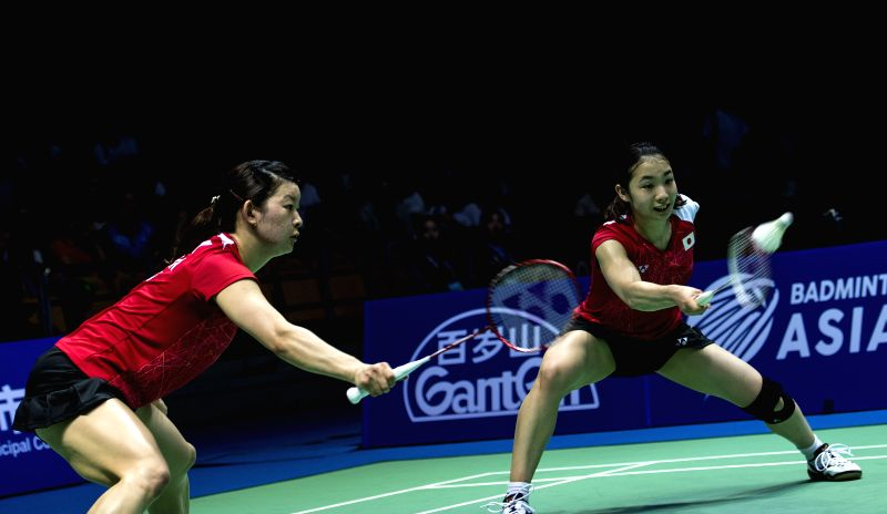 WUHAN, April 30, 2017 - Matsutomo Misaki and Takahashi Ayaka (L) of Japan compete during the women's doubles final match against Kim Hye Rin and Yoo Hae Won of South Korea at the Badminton Asia ...
