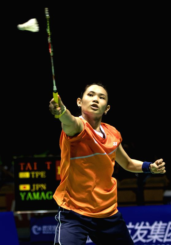 WUHAN, April 30, 2017 - Tai Tzu Ying of Chinese Taipei competes during the women's singles final match against Yamaguchi Akane of Japan at the Badminton Asia Championships 2017 in Wuhan, capital of ...