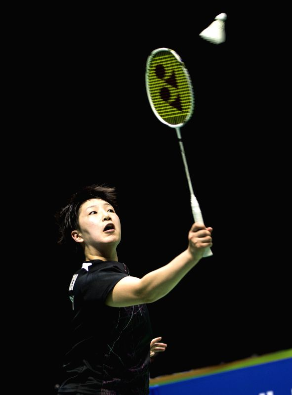 WUHAN, April 30, 2017 - Yamaguchi Akane of Japan competes during the women's singles final match against Tai Tzu Ying of Chinese Taipei at the Badminton Asia Championships 2017 in Wuhan, capital of ...