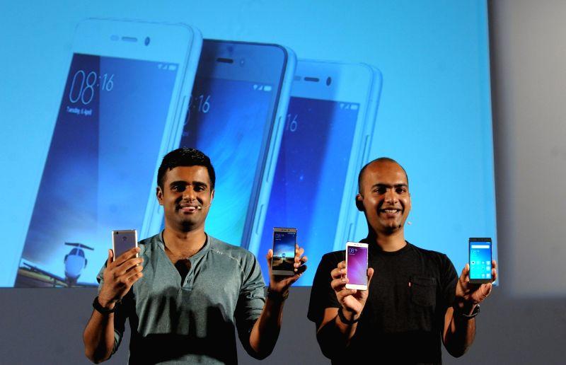 Xiaomi India head Manu Jain and MIUI Product Lead Jai Mani during a programme in Kolkata on Aug 8, 2016. - Manu Jain