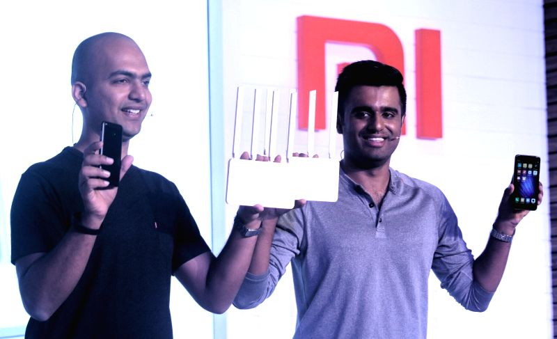 Xiaomi India Managing Director Manu Jain and Xiaomi India Product  Jai Mani at the launch of  MI  note 4 and MI  router 3C in New Delhi on May 16, 2017. - Manu Jain