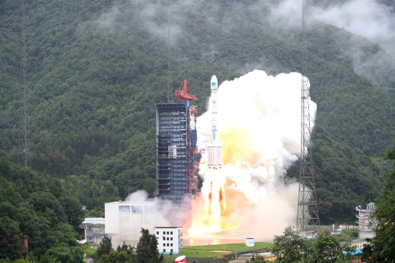 XICHANG, July 29, 2018 - China sends twin satellites into space via the Long March-3B carrier rocket from Xichang Satellite Launch Center in Xichang, southwest China's Sichuan Province, July 29, ...