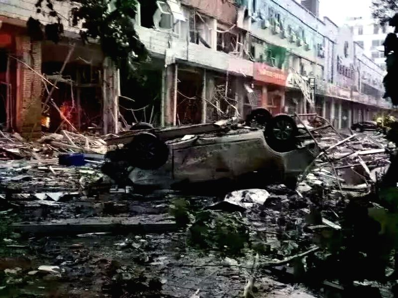 XINGTAI, July 20, 2016 - Photo taken by a cellphone on July 20, 2016 shows an explosion site of a bank in Xingtai, north China's Hebei Province. Preliminary investigation shows a gas explosion ...