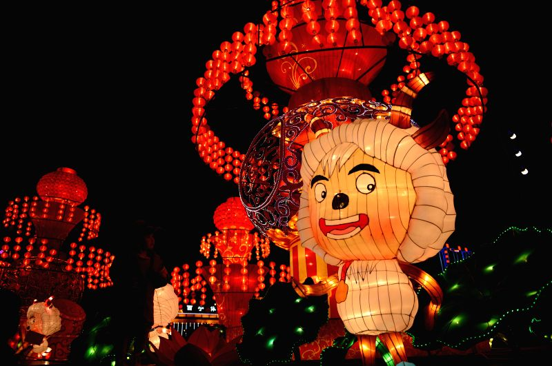 Photo taken on Feb. 22, 2015 shows a giant cartoon lantern at a lantern show which is to celebrate the Spring Festival in Xining City, capital of northwest China's ...