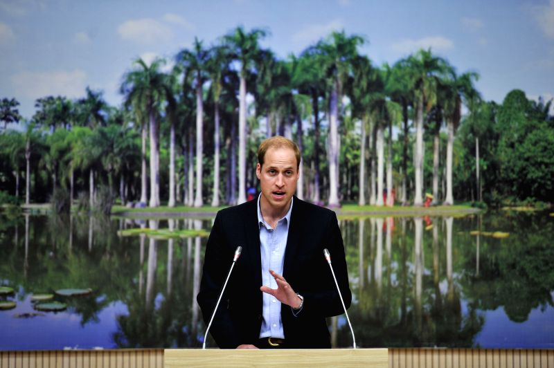 Britain's Prince William speaks at a meeting on biodiversity protection in Xishuangbanna Dai Autonomous Region, southwest China's Yunnan Province, March 4, ...