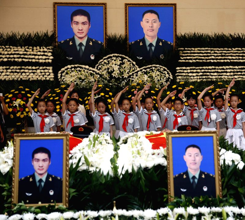 XUCHANG, July 21, 2016 - A funeral ceremony is held to bid farewell to deceased Chinese UN peacekeeper Yang Shupeng and Li Lei in Xuchang, central China's Henan Province, July 21, 2016. Li Lei and ...