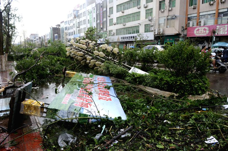Trees, street lamps and advertising board fall after landfall of the typhoon Rammasun in Xuwen County, south China's Guangdong Province, July 19, 2014.  Typhoon ...