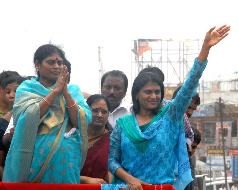 Y.S. Jaganmohan Reddy's mother, Vijayamma and sister Sharmila, campaigning for YSR Congress Party candidates for the upcoming by-elections in Andhra Pradesh.