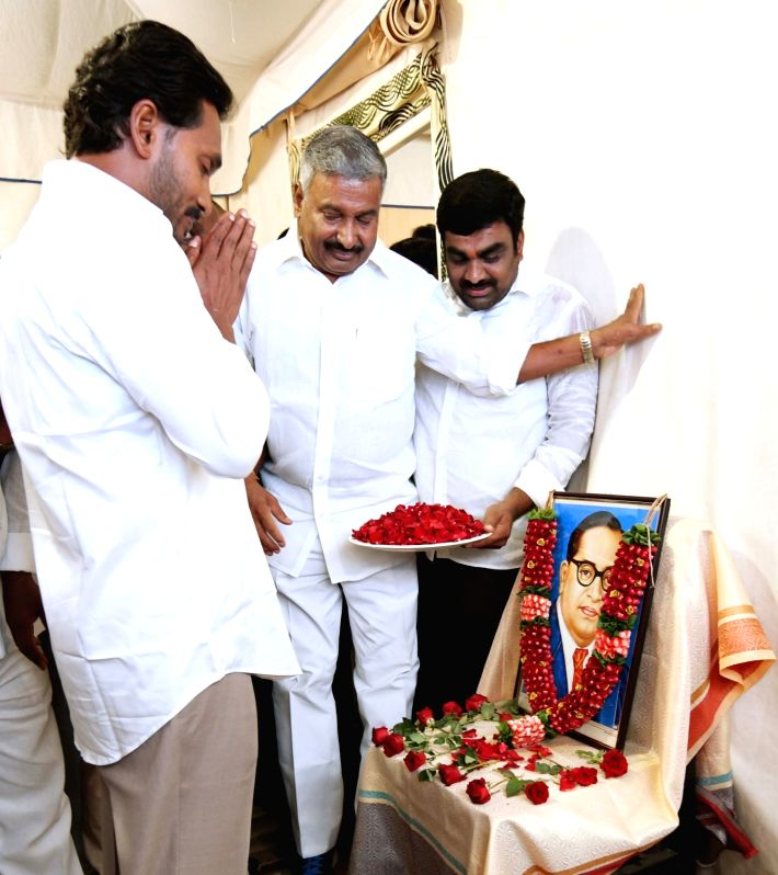 Y S R Congress chief YS Jaganmohan Reddy pays tributes to Dr. B.R. Ambedkar on his 127th birth anniversary, in Hyderabad on April 14, 2018. - Jaganmohan Reddy