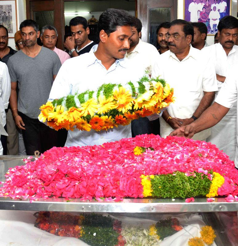 Y S R Congress president  Y S Jaganmohan Reddy pays his last respect to former Andhra Pradesh Chief Minister Nedurumalli Janardhana Reddy who died in Hyderabad following a liver ailment on May 9, ... - Nedurumalli Janardhana Reddy