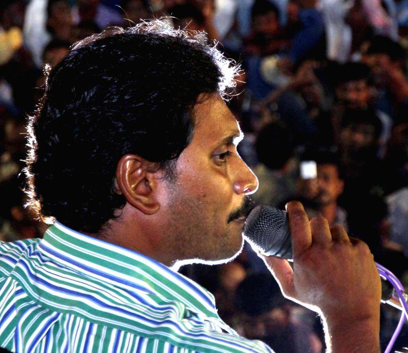 Y S R Congress President YS Jaganmohan Reddy addresses a rally at Pathikonda in Chittoor district of Andhra Pradesh on April 14, 2014. - Jaganmohan Reddy