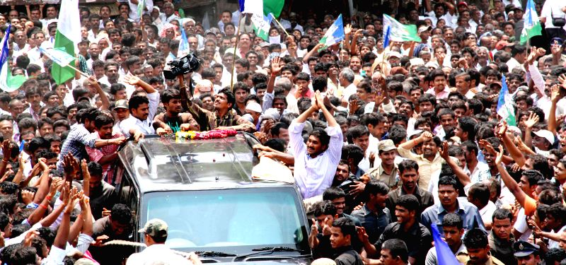 Y S R Congress President YS Jaganmohan Reddy during an election campaign at Pathikonda in Kurnool district of Andhra Pradesh on April 15, 2014.