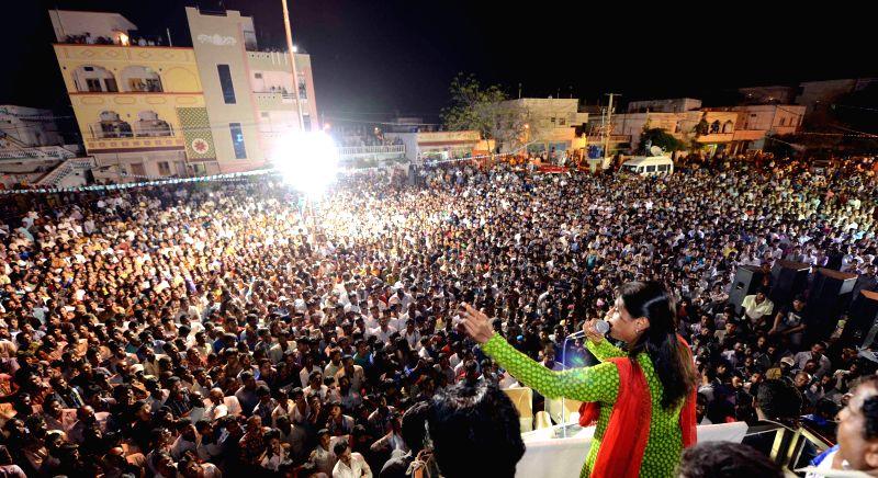 Y. S. Sharmila addresses a rally at Patancheru in Medak district of Andhra Pradesh.