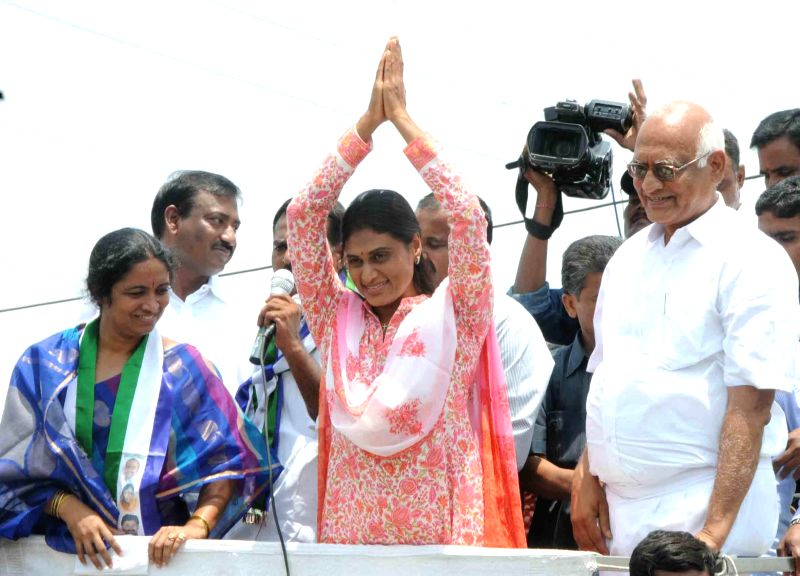 Y. S. Sharmila during a rally in Kurnool district of Andhra Pradesh on April 23, 2014.