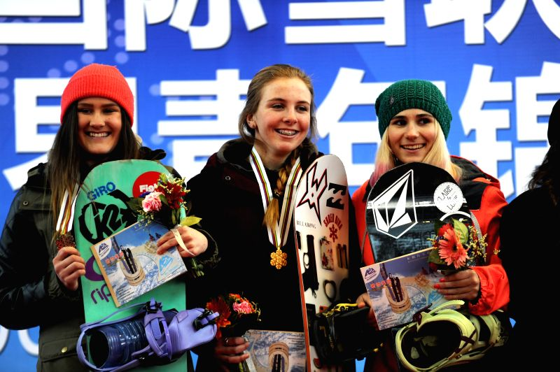Gold medalist Nora Healey(C) of the United States, silver medalist   Elli Pikkujamsa(L) of Finland and bronze medalist Chloe Sillieres of France pose during the ...