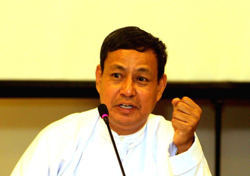 File photo taken on Aug. 12, 2013 shows Myanmar presidential spokesman U Ye Htut speaking to media at a press conference in Yangon, Myanmar. Myanmar government Friday