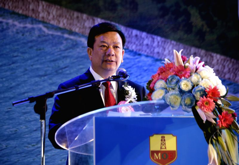 General Manager of the China National Petroleum Corporation (CNPC) Liao Yongyuan delivers a speech during the soft opening ceremony of commissioning of Ma-De crude ..