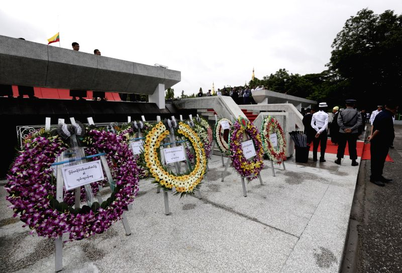 Wreathes are seen at the Martyrs' Mausoleum during the 67th Martyrs' Day ceremony in Yangon, Myanmar, July 19, 2014. Myanmar held a ceremony here Saturday to ...