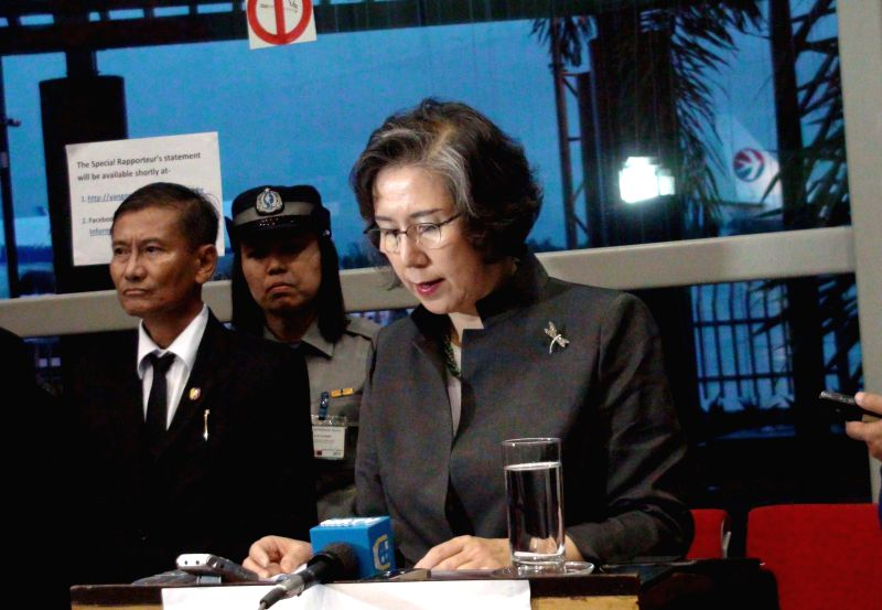 United Nations special rapporteur on the situation of human rights in Myanmar, Prof. Yanghee Lee speaks to the media in Yangon, Myanmar, July 26, 2014. United ...