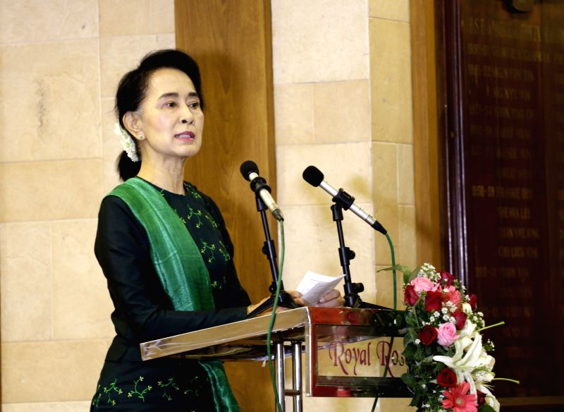 Chairperson of the National League for Democracy (NLD) Aung San Suu Kyi addresses the fifth meeting of the central committee in Yangon, Myanmar, June 20, 2015. Aung ...