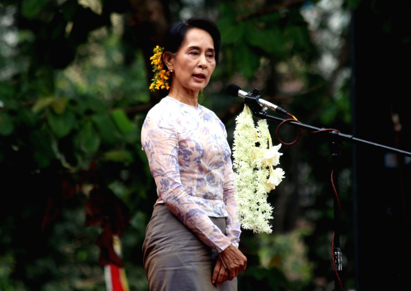 Leader of Myanmar's opposition National League for Democracy party Daw Aung San Suu Kyi speaks during a compaign in Yangon May 17, 2014. Daw Aung San Suu Kyi called ..