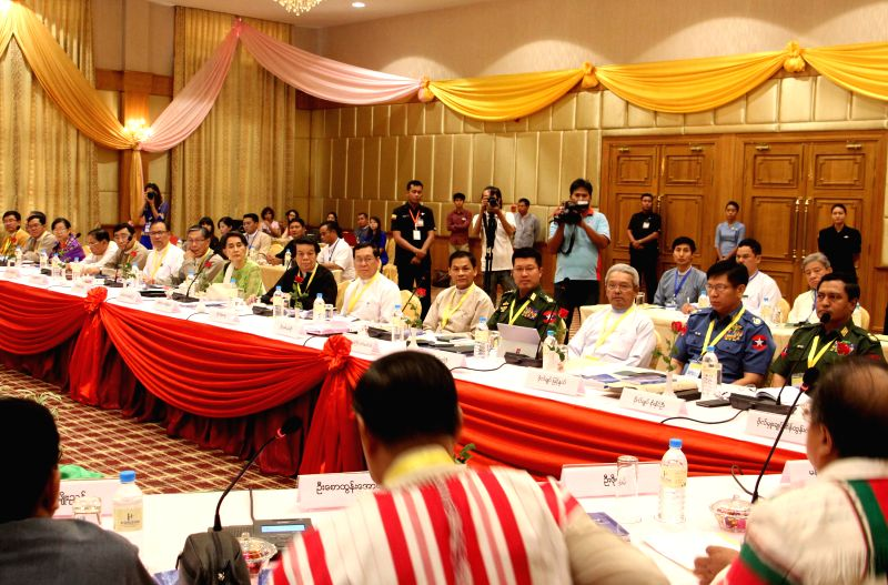 YANGON, May 27, 2016 - Photo taken on May 27, 2016 shows a scene of the meeting of the Union Peace Dialogue Joint Committee (UPDJC) in Nay Pyi Taw, Myanmar. The UPDJC in Myanmar will be reformed with ...