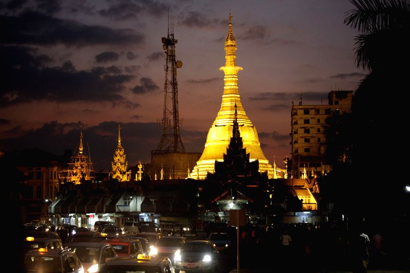 Photo taken on Dec. 12, 2014 shows a view of the Sule Pagoda in downtown Yangon, Myanmar.