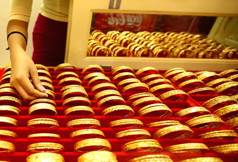 YANGON, Sept. 19, 2018 (Xinhua) -- Photo taken on Sept. 19, 2018 shows gold bracelets at a jewelry shop in Yangon, Myanmar. Myanmar's domestic gold price has hit over 1 million kyats (672 U.S. dollars) per tical, registering its highest record this y