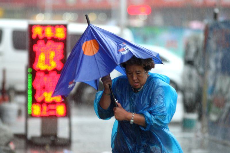 A woman walks in rainstorm in Yantai City, east China's Shandong Province, July 25, 2014. Typhoon Matmo brought rainstorms to the province. (Xinhua/Shen ...