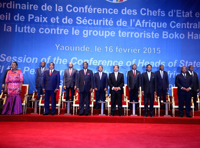 Photo taken on Feb. 16, 2015 shows the opening ceremony of the extraordinary summit in Yaounde, Cameroon. The leaders of Economic Community of Central African ...