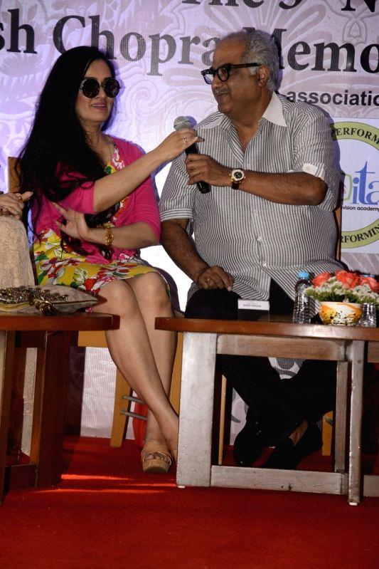 Yash Chopra Memorial Award jury members -  filmmaker Boney Kapoor and actress Padmini Kolhapure during a press conference to announce the winner of the prestigious award in Mumbai on Jan 28, ... - Padmini Kolhapure, Asha Bhosle and Kapoor