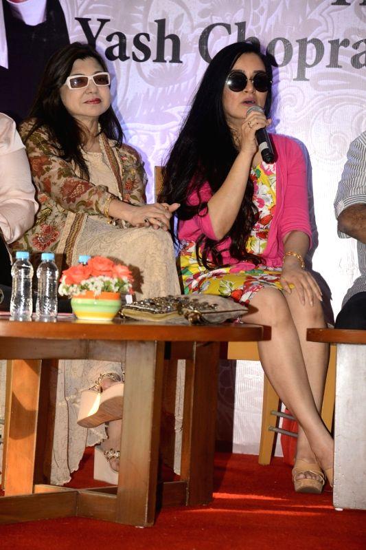 Yash Chopra Memorial Award jury members -  singer Alka Yagnik and actress Padmini Kolhapure during a press conference to announce the winner of the prestigious award in Mumbai on Jan 28, ... - Padmini Kolhapure and Asha Bhosle