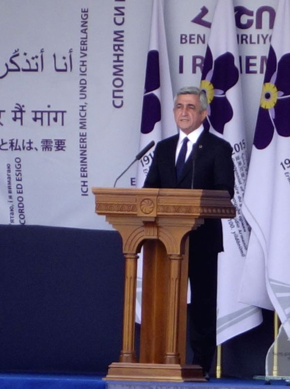 Armenian President Serzh Sargsyan delivers a speech, commemorating the 100th anniversary of a genocide in Yerevan, Armenia, on April 24, 2015. Armenia held a ...