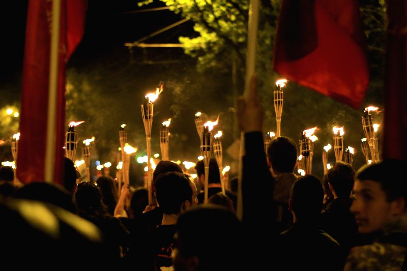 YEREVAN, April 24, 2017 - People attend a torch procession ceremony marking the 102nd anniversary of the Armenian Genocide, in Yerevan, Armenia, on April 23, 2017. Armenia on Monday marked the 102nd ...