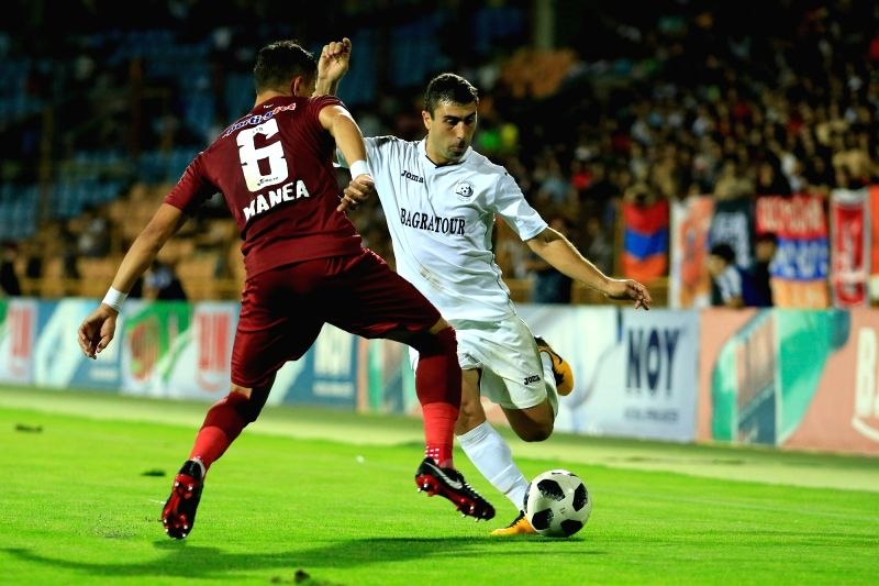 YEREVAN, Aug 10, 2018 - Cristian Manea (L) of Romania's CFR competes during the UEFA Europa League third qualifying round football match between Alashkert and CFR in Yerevan, Armenia, on Aug. 9, ...