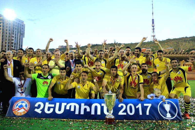 YEREVAN, June 1, 2017 - Armenia's FC Alashkert celebrates the Armenian Championship title in Yerevan, Armenia, on May 31, 2017.