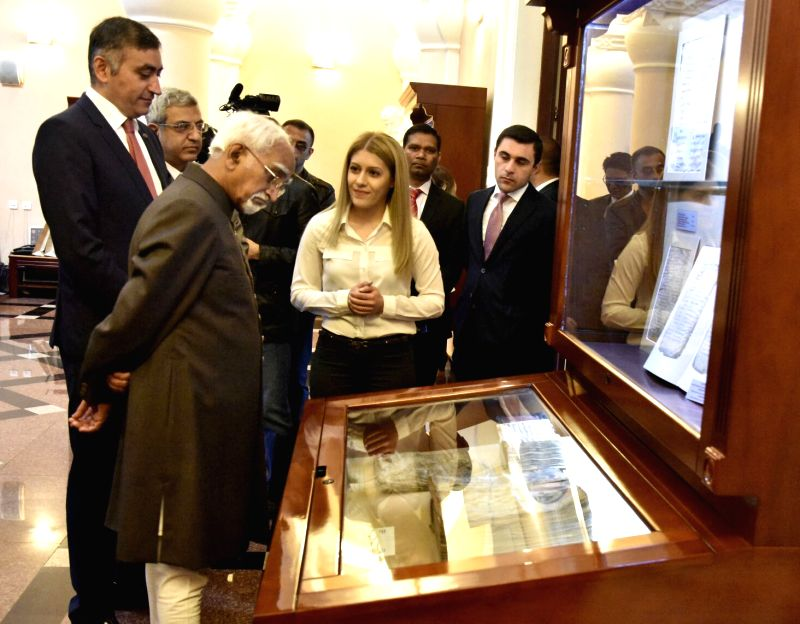 Yerevan: Vice President M Hamid Ansari at the Institute of Ancient Manuscripts in Yerevan, Armenia on April 26, 2017.