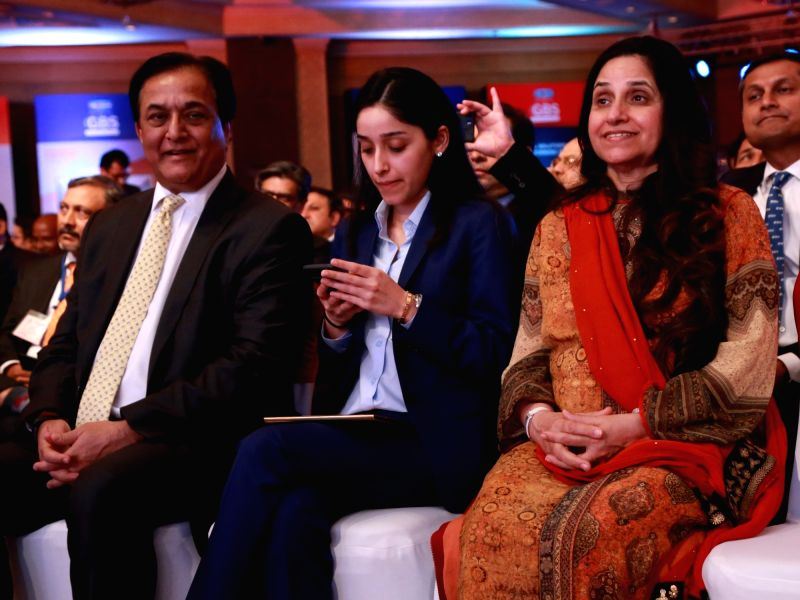 YES Bank Managing Director and CEO Rana Kapoor along with his family at the 4th Global Business Summit in New Delhi on Feb 23, 2018. - Kapoor