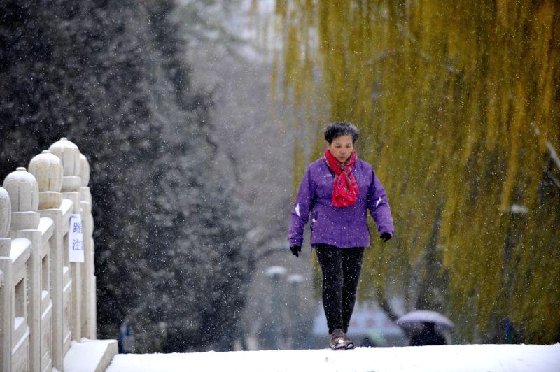 A resident walks amid snowfall in Yinchuan, capital of Ningxia Hui Autonomous Region, Nov. 27, 2014. A cold front brought snowfall to Yinchuan on Nov. 27.