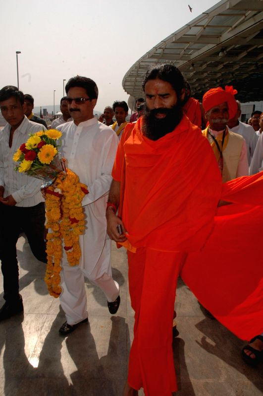 Yoga guru Ramdev arrives in Bhopal on April 17, 2014.