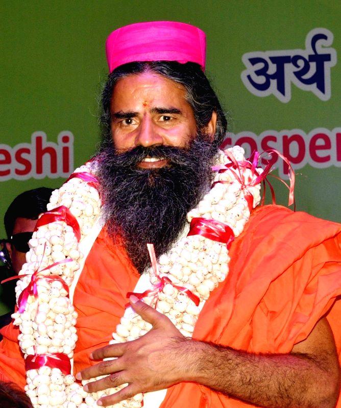 Yoga Guru Ramdev during a programme in Patna on July 16, 2018.