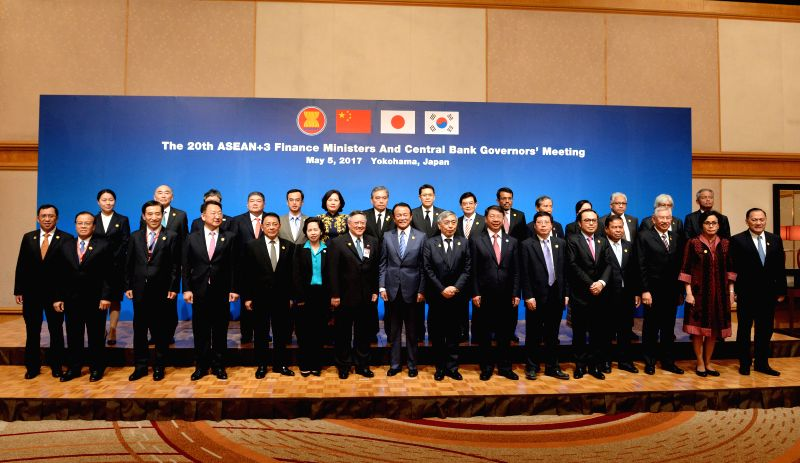 YOKOHAMA, May 5, 2017 - Finance chiefs from the Association of Southeast Asian Nations (ASEAN) as well as Japan, China and South Korea pose for group photo during the 20th ASEAN+3 Finance Ministers' ...