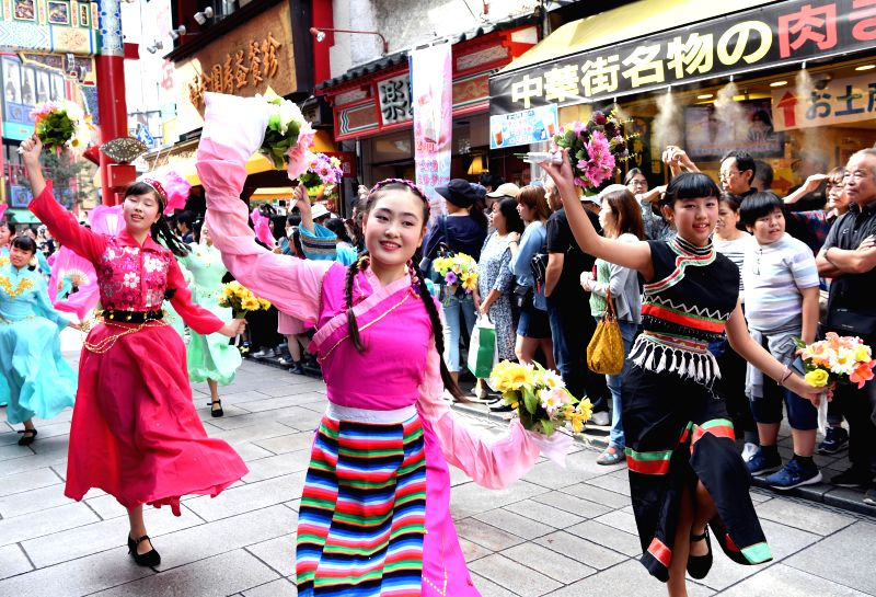 YOKOHAMA, Oct. 1, 2017 - Local Chinese perform during a parade celebrating the 68th anniversary of the founding of the People's Republic of China in Yokohama, Japan, Oct. 1, 2017. (Xinhua/Ma Ping)
