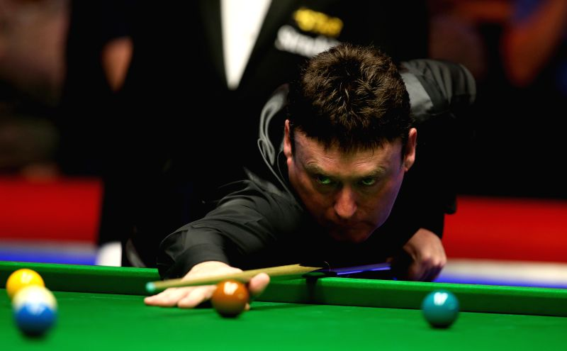 York (England): Jimmy White of England competes during the Snooker UK Championship 2014 second round match against Ding Junhui of China at the York Barbican Center in York, England, on Nov. 29, 2014.