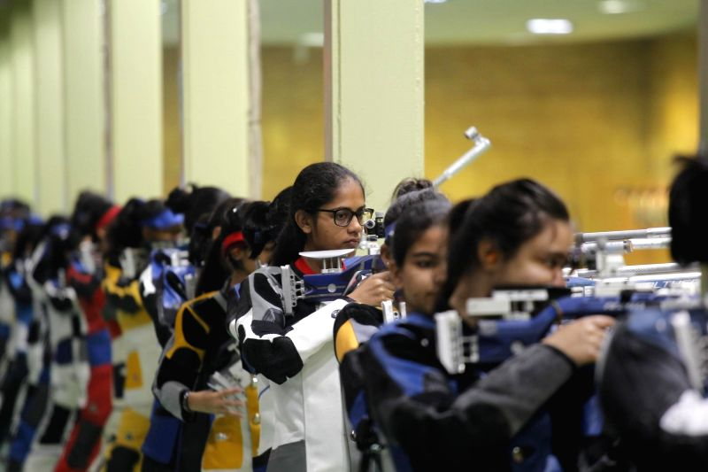Young shooters participating in 10m Air Rifle event, during Khelo India School Games at the Dr. Karni Singh Shooting Ranges in New Delhi on Feb 1, 2018.