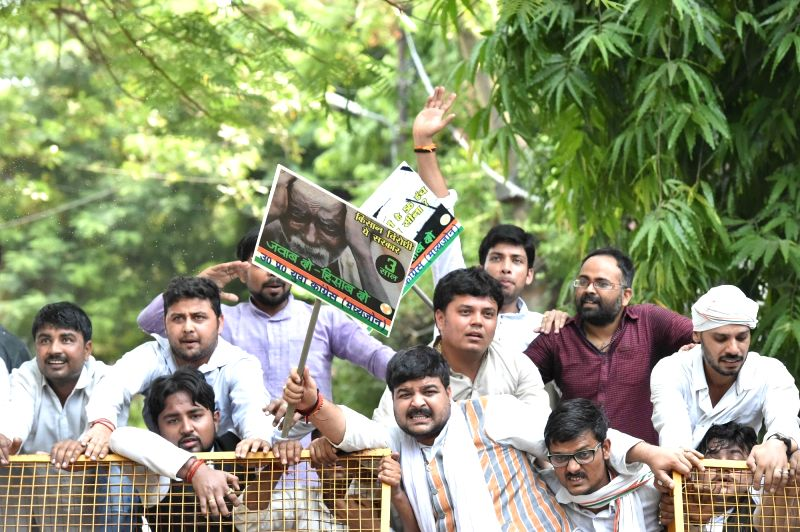 Youth Congress activists stage a demonstration against Union Government in Lucknow on May 26, 2017.