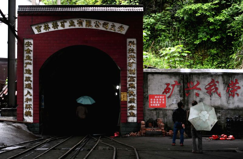 YOUXIAN, May 8, 2017 - Photo taken on May 8, 2017 shows the entrance of the shaft of the Jilinqiao coal mine in Huangfengqiao Town of Youxian County, central China's Hunan Province. A gas leaking ...