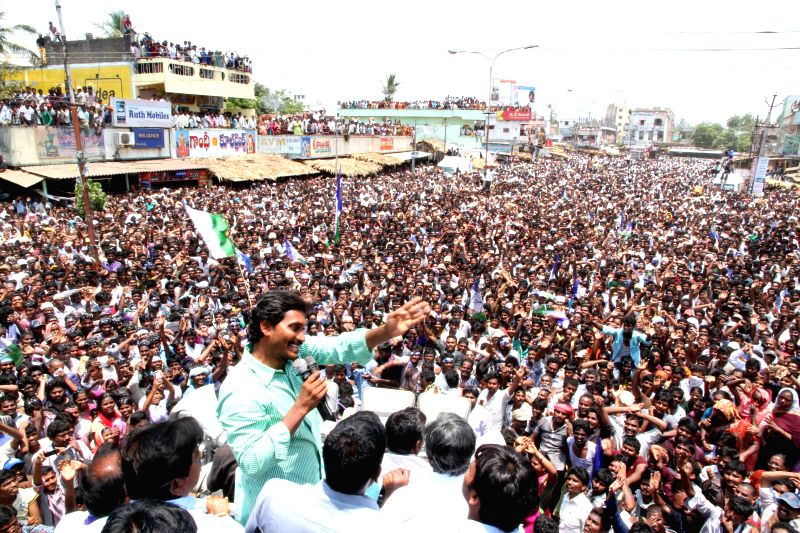 YSR Congress chief YS Jaganmohan Reddy during an election rally in Guntur district of Andhra Pradesh on April 29, 2014. - Jaganmohan Reddy