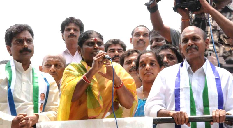 YSR Congress honorary president Y.S. Vijayalakshmi during a rally at Anaparthy in East Godavari district of Andhra Pradesh on April 23, 2014.
